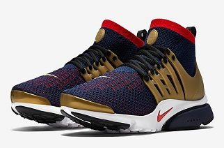 "If you don't recognize the influence of the Nike Air Presto in modern sneaker culture, just look around. The shoe is everywhere and new variations of the model continue to release in droves. This International Presto is by far one of the best of the year. Constructed in Flyknit fabrication with patriotic tones throughout, a metallic gold casing, toe bumper and tongue patch render this colorway not only one of the brand's best Olympic releases, but one of the best Prestos of the year. Give the Nike Air Presto Ultra Flyknit ""Olympic"" a look above and anticipate the release on July 7. Nike Air Presto Ultra Flyknit ""Olympic"" Style #: 835570-406 Release Date: July 7, 2016 Price: $130"